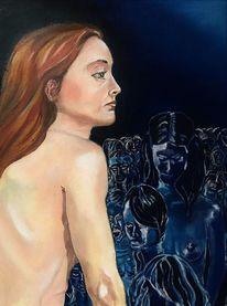 Frau, Menge, Rücken, Blau