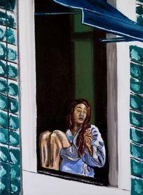 Figural, Zigarette, Sitzen, Frau