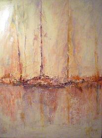 Gegenlicht, Hafen, Segelschiff, Malerei