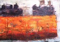 Orange, Modern, Landschaft, Eindrücken