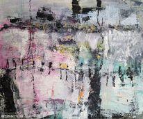 Grau, Abstrakt, Landschaft, Misch technik