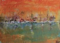 Maritim, Orange, Feuer, Horizont
