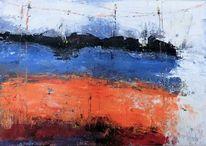 Moderne malerei, Ozean, Abstrakte landschaft, Nicht gegenständlich