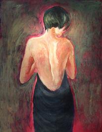 Akt, Rücken, Frau, Malerei