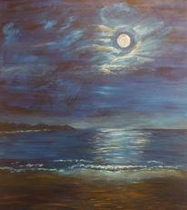 Wolken, Meer, Himmel, Mond