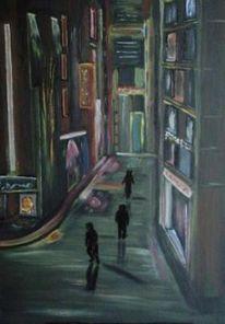 Schaufenster, Stadt, Nacht, Malerei