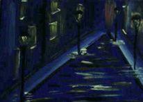 Straße, Blau, Gelb, Laterne