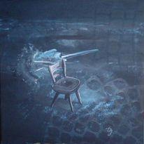Blau, Stuhl, Malerei