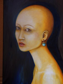 Portrait, Frau, Ohrringe, Malerei
