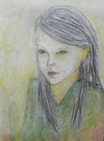 Mädchen, Kreide, Skizze, Zeichnungen