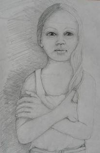 Kinder, Mädchenskizze, Zeichnungen