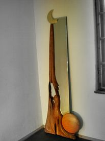 Organisch, Spiegel, Holzskulptur, Wohnraumgestaltung