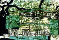 Architektur, Landschaft, Zeichnungen, Surreal