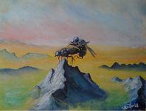Berge, Fliegen, Gipfel, Nebel