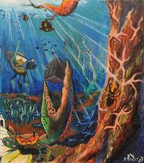 Unterwasser, Alge, Hirschkäfer, Würfel