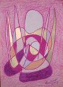 Engel, Abstrakt, Rosa, Pastellmalerei