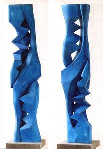 Verwandlung, Blau, Relief, Skulptur
