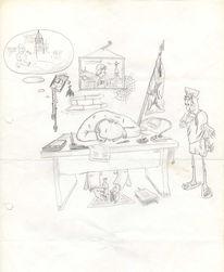 Bauer, Russiche, Bleistiftzeichnung, Comic