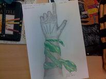 Buntstiftzeichnung, Arm, Hand, Tuch