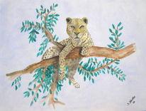 Tiere, Leopard, Afrika, Malerei
