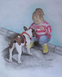Kind, Mädchen, Hund, Zeichnungen