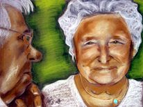 Zeichnungen, Portrait, Oma, Opa