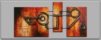 Antik, Schlüssel, Wandelement, Malerei