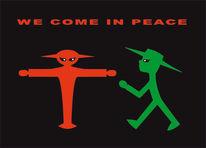 Humor, Verkehrssymbol, Ampelmännchen, Alien
