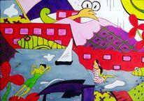 Menschen, Acrylmalerei, Engel, Boot
