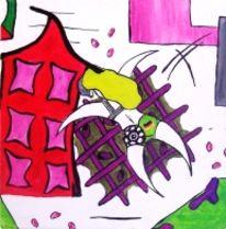 Abstrakt, Acrylmalerei, Fußball, Modern