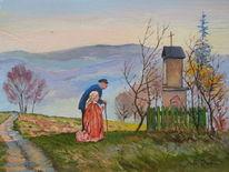 Kapelle menschen berge, Malerei, Kapelle