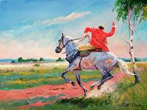 Sommer, Pferde, Reiter, Malerei