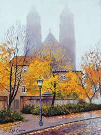 Herbst, Magdeburger dom, Nebel, Malerei