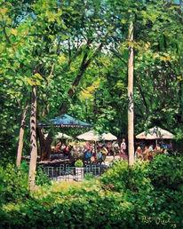 Park, Sommer, Cafe, Malerei