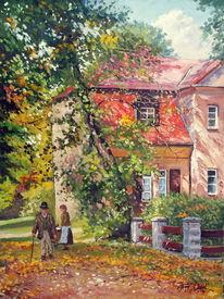 Herbst, Sonne, Frau, Haus