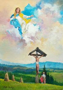 Kreuz, Madonna, Kinder, Malerei