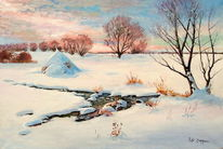 Heuhaufen, Winter, Fluss, Schnee