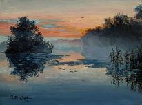 Malerei, See, Sonnenaufgang