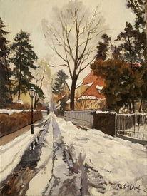 Winter, Schnee, Tauwetter, Haus