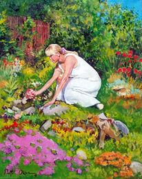 Garten, Sommer, Malerei, Figural