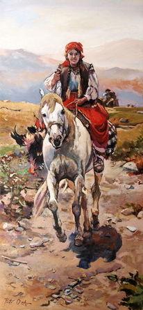Mädchen pferd markt, Malerei, Unterwegs, Markt