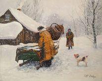Winter, Menschen, Hund, Schnee