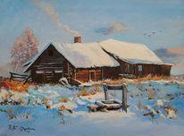 Winter, Bauernhaus, Schnee, Wasserbrunnen
