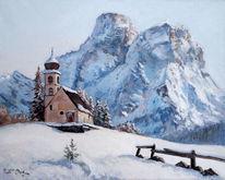 Winter, Kirche, Dolomiten, Schnee