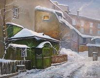 Schnee, Hinterhof, Abend, Winter