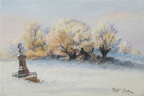 Weiden, Schnee, Landschaft, Kapelle