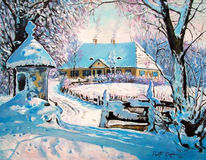 Haus, Schnee, Winter, Malerei