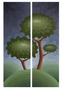 Baum, Ölmalerei, Hügel, Sturm