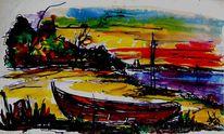 Zeitgenössisch, Malerei, Bucht, Binzer