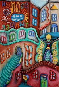Häuser, Hundertwasser, Zeichnungen, Architektur